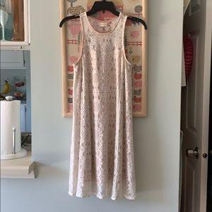 Cream and tan mini dress.